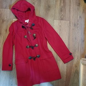 Wool Hooded Trench Toggle Duffle Coat Red Small